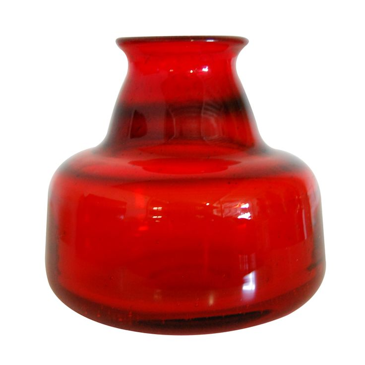 Vintage Swedish Red Art Glass Vase by Erik Höglund for Boda