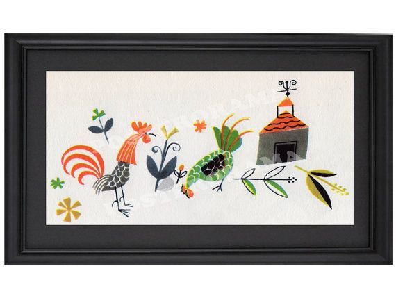 Simple Chicken and Rooster POSTER large long 10 x by POSTERORAMA