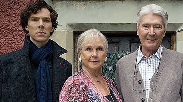 Bendict Cumberbatch and his mum Wanda Ventham, and his dad Timothy Carlton in 'Sherlock' (Pic: BBC)