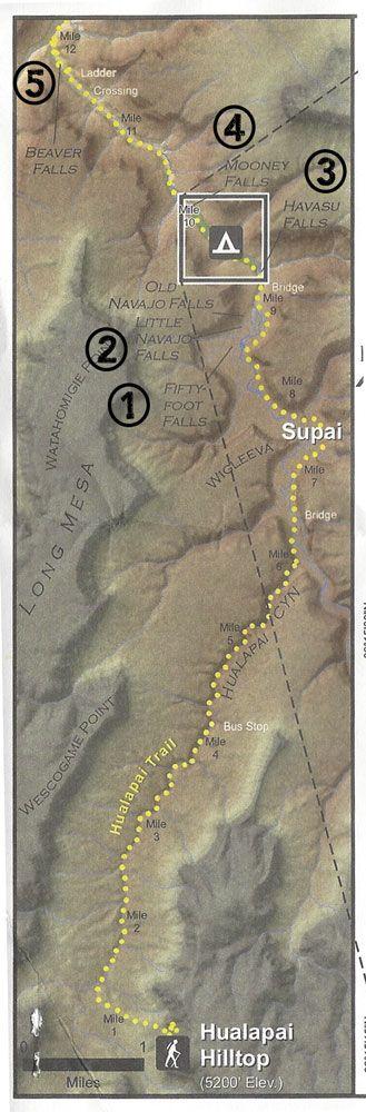 Map of the 5 Waterfalls of Havasu Canyon on Arizona's Havasupai Indian Reservation. bearfoottheory.com