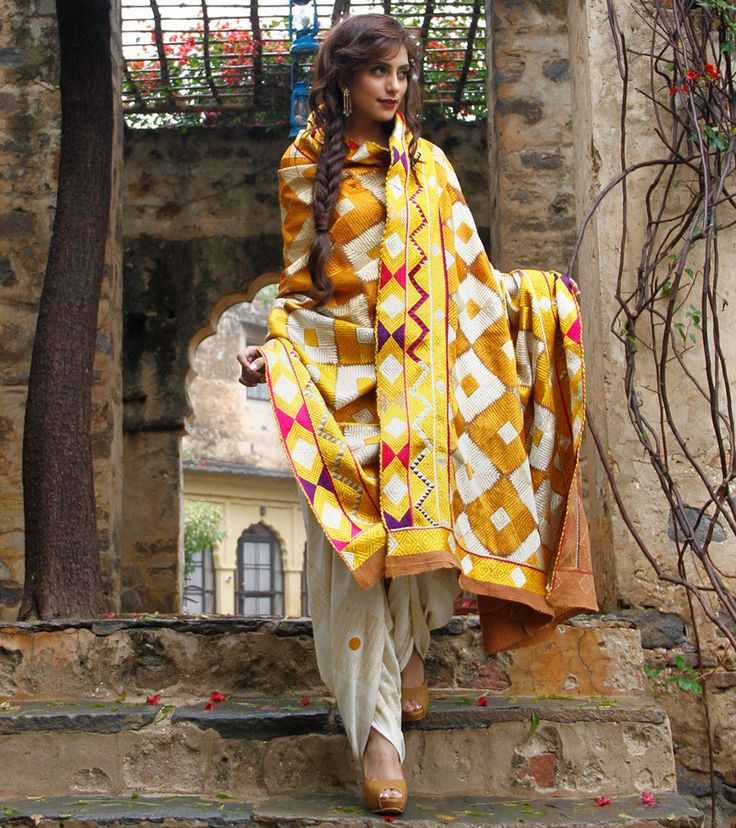 White & Yellow Khadi Odhani with Bagh Embroidery