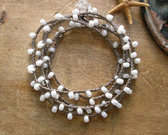 Romantic crochet wrap bracelet, Bohemian bridal jewelry, pearl white, shabby boho chic, bridesmaids gift, beach, feminine, ivory on Etsy, $32.00