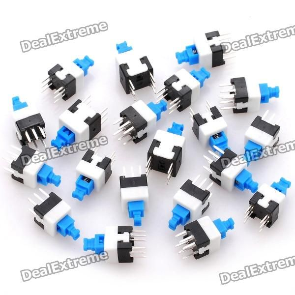 7 x 7mm No Lock Switch - Blue + White + Black (20 Piece Pack). Material: PA66 - Current: 0.3A - Voltage: 125V - Size: 7 x 7mm - Contains 20 switches per pack. Tags: #Electrical #Tools #Switches #Adapters