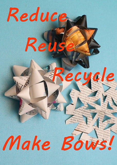 make bows out of recycled magazines & catalogs