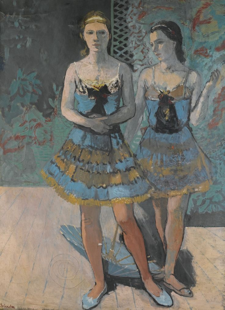 Dancers (1939). Maurice Brianchon (French, 1888-1979). Oil on canvas. Serge Lifar, the ballet master of the Paris Opera, invited Brianchon to design the sets for Francis Poulenc's Les Animaux modèles. The work was staged at the Paris Opéra in 1942, with choreography by Lifar, who also danced in the premiere. The themes of the ballet are drawn from the Fables of Jean de La Fontaine.