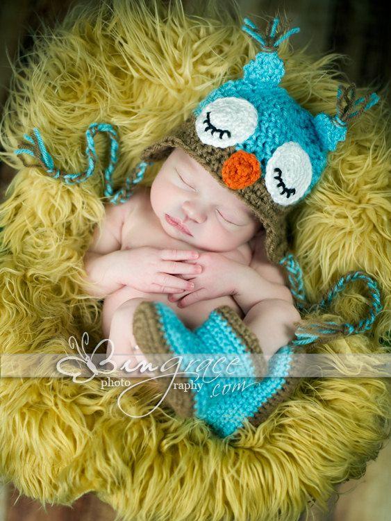 Sleepy Owl Baby Hat Blue and Mocha by homeschoolma on Etsy, $25.00