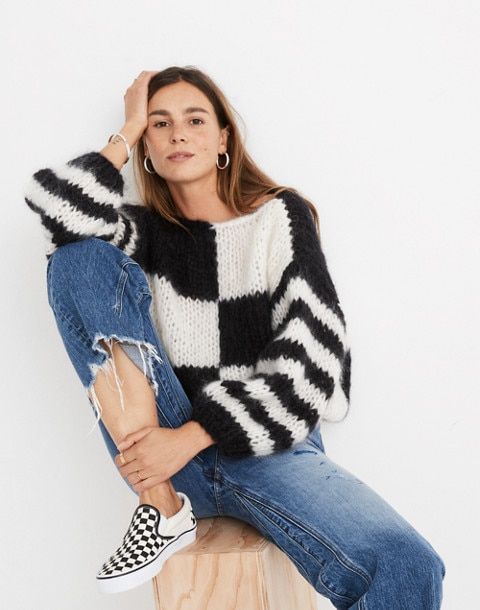 0536f430a121 x Maiami Checker Big Sweater | My Style | Fashion, Hand knitted ...