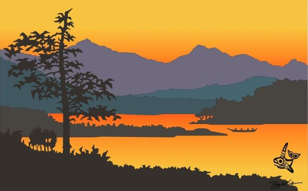 Leaving Kitkatla by Roy Henry Vickers. From the book Orca Chief.