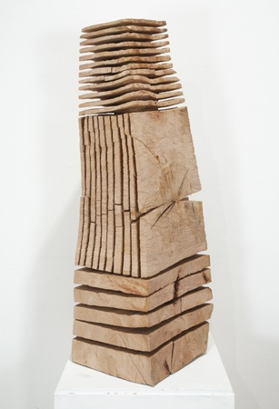 David Nash  Leaning Crack and Warp Column, 2006  Beech  39 x 14 x 12 inches  HG9484
