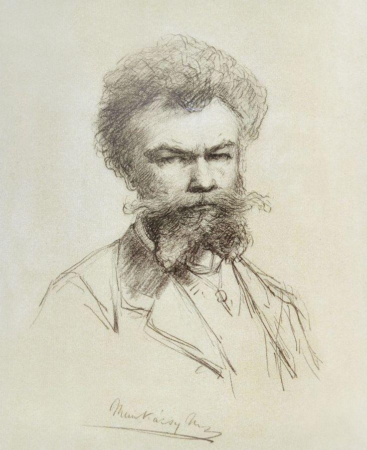 Önarckép, 1881, krérarajz Munkácsy Mihály