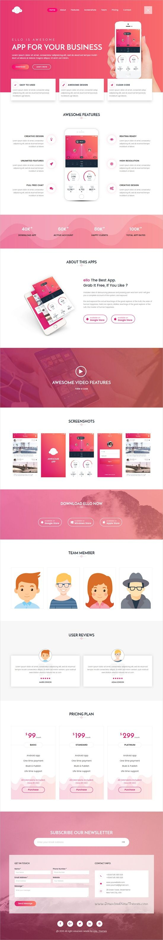 Ello is a modern, unique and clean design responsive #HTML #bootstrap template for amazing #landingpage marketing websites with 5+ unique homepage layouts download now➩ https://themeforest.net/item/ello-multipurpose-app-landing-html5-template/19326442?ref=Datasata