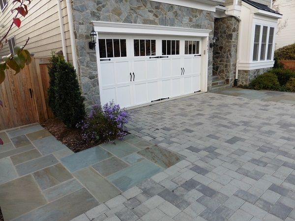 McLean Driveway with Hanover Pavers and Flagstone Entrances