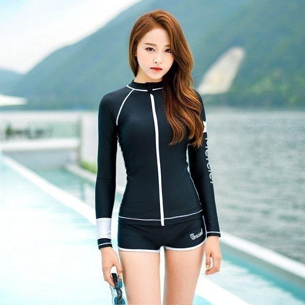 Japan& South Korea Long-sleeve Women's Swimming Suit Boxer ...