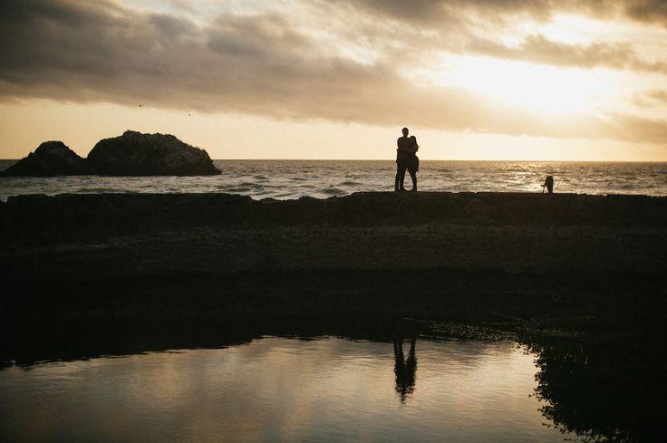 sutro baths engagement at sunset. san francisco, california.