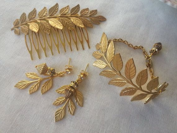 HAIR COMB EARRINGS and Bracelet Set Laurel Leaves Grecian Rustic Chic Garden Wedding Grecian Laurel Waldorf Woodland Victorian Rustic