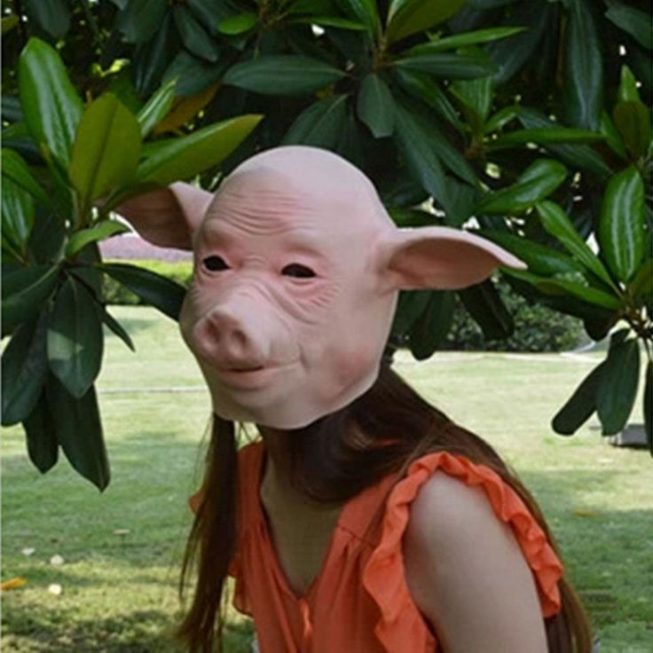 1pc Adult Size Full Head Halloween Mask Realistic Latex Pink Pig Head Party Masquerade Masks Silicone mask Gifts