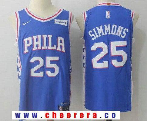 fd78c92482e Men s Philadelphia 76ers  25 Ben Simmons Royal Blue 2017-2018 Nike Swingman  Stubhub Stitched NBA Jersey