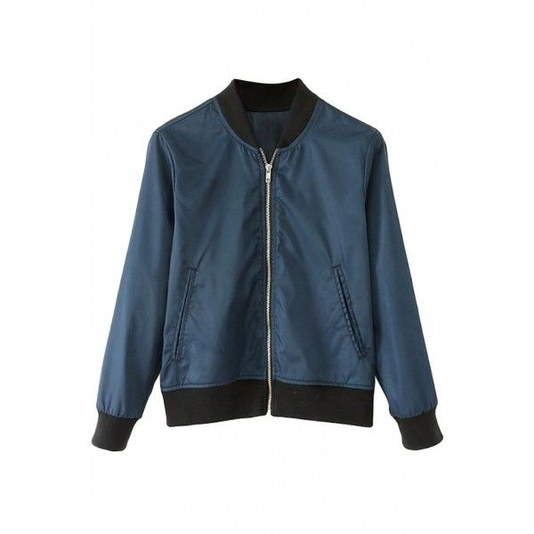 Sporty Navy Bomber Jacket OASAP.COM (€26) via Polyvore featuring outerwear, jackets, blue jackets, blue bomber jackets, navy blue jacket, navy blue bomber jacket en colorblock bomber jacket