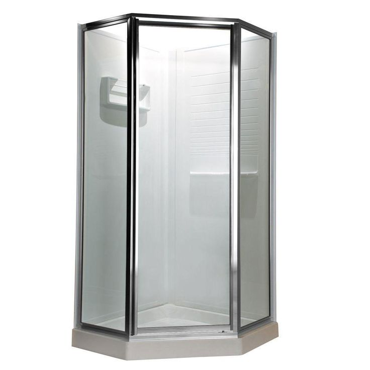 American Standard Prestige 24.25 inch x 68.5 inch Height Neo-Angle Shower Door in Silver and Clear Glass 468702