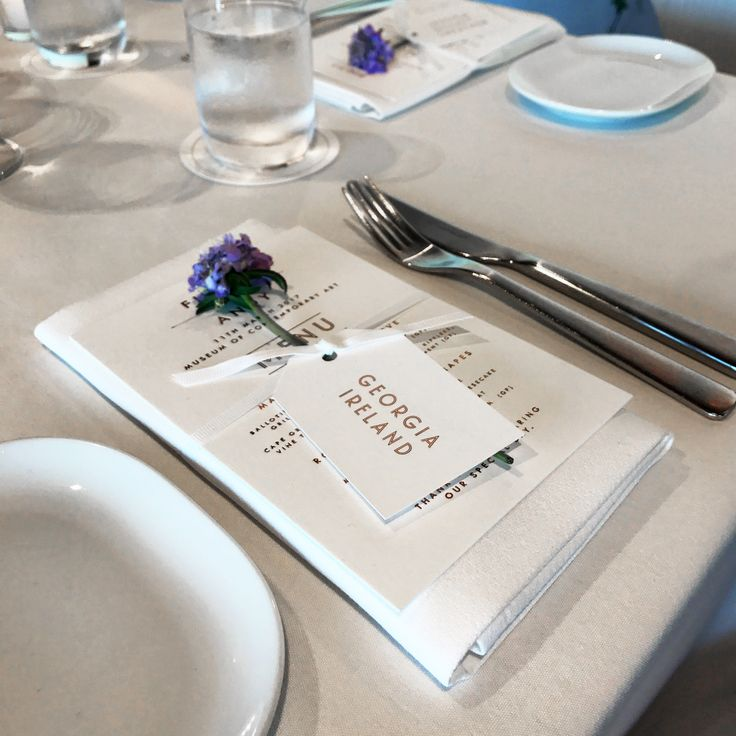 Custom Copper Foiled and Digitally Printed Wedding Menus and Tags