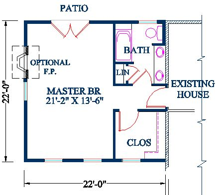 master bedroom addition plan - vaulted ceiling over bedroom and upstairs walk-in closet over hallway