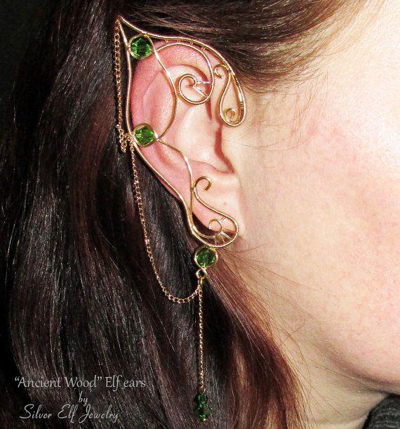 Ancient Wood Elf Ears elf ear cuff elf ear by SilverElfJewelry