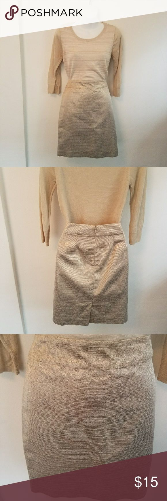 """Ann Taylor Gold Pencil Skirt NWOT NWOT Ann Taylor Gold Pencil Skirt. Size 4  Beautiful gold pencil skirt has just the right amount of sparkle. Measures 22"""" from waist to hem Ann Taylor Skirts"""