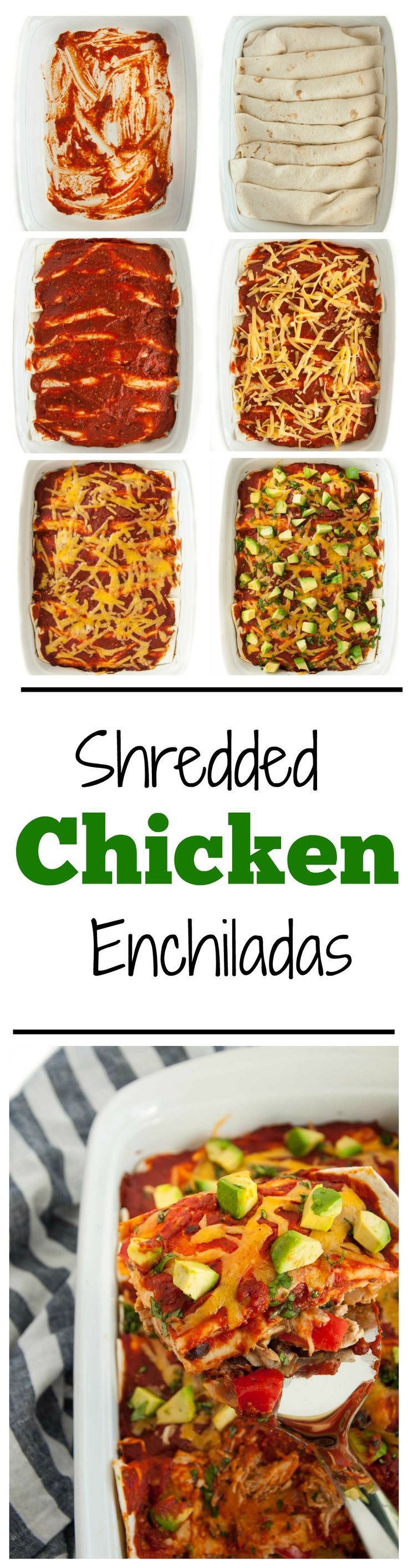 These shredded chicken enchiladas are so insanely delicious! Peppers, chicken, cheese, sour cream and homemade sauce unite in this tasty main dish. - Feasting Not Fasting