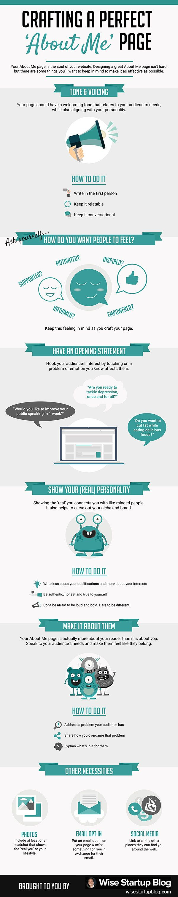 [INFOGRAPHIC] Crafting a Perfect 'About Me' Page—Tone/Voicing; Statement; Personality; Necessities; Details>