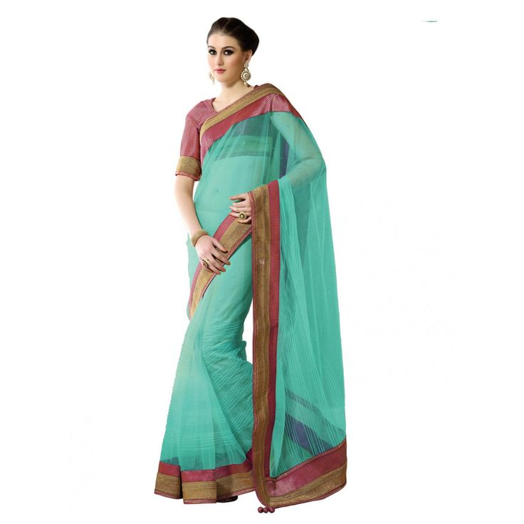 Blue Net Designer #Saree With Blouse