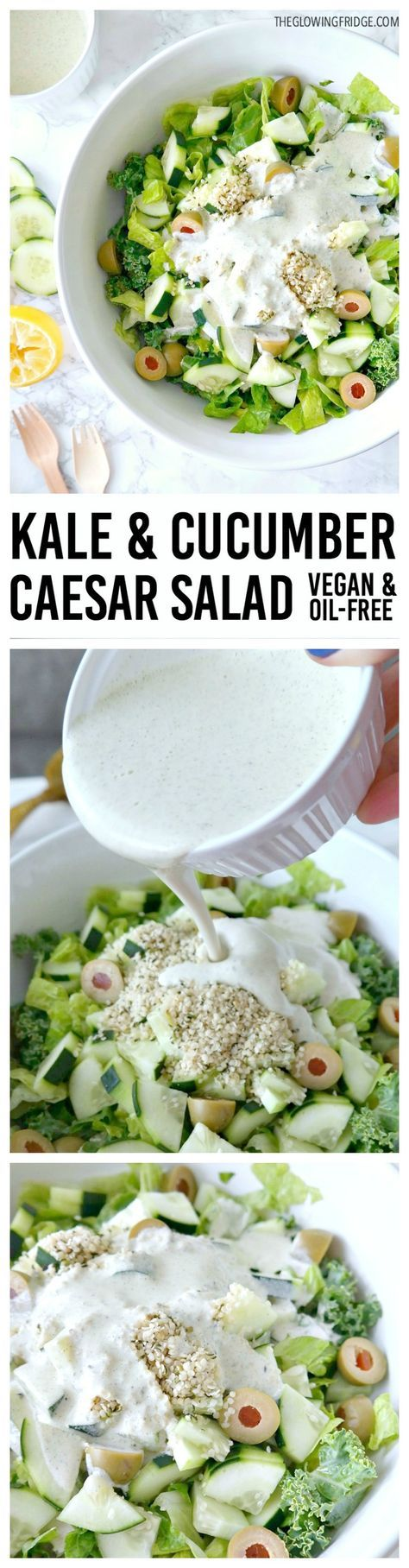 VEGAN, OIL-FREE, NUT-FREE, GLUTEN-FREE, CASHEW-FREE. Zesty Kale Cucumber Caesar Salad. Super fresh, light and crunchy with a tangy vegan caesar dressing, Simple and delicious - a perfectly healthy remake of the classic caesar salad. From The Glowing Fridge. #vegan #caesar #salad