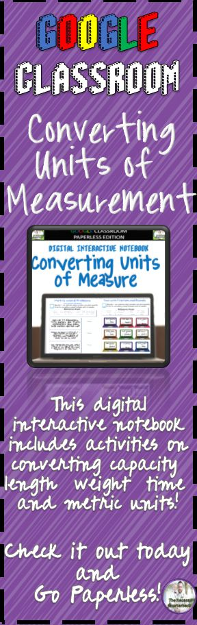 Google Classroom Converting Units of Measure Digital Interactive Notebook -     This Digital Interactive Notebook provides students with exercises that will help them learn about converting between different units of measure. This notebook includes converting customary length, weight, and time, along with metric units and time. It includes one step conversions, conversions with fractions and decimals, and word problems with all of the different units!