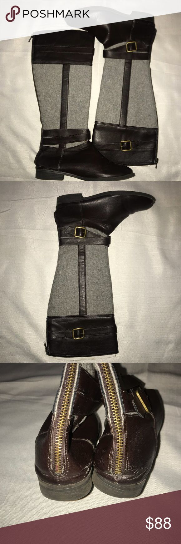 Brown & Wheat Knee High Boots A cute & simple pair of boots. Perfect for everyday wear. In good wearable condition. Has flaws as noted in the pictures. Price reflects these flaws. LC Lauren Conrad Shoes Winter & Rain Boots