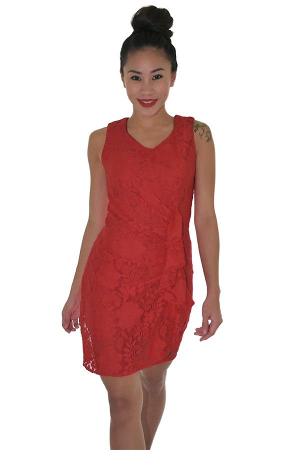 PSL Gathered Lace Dress in Crimson