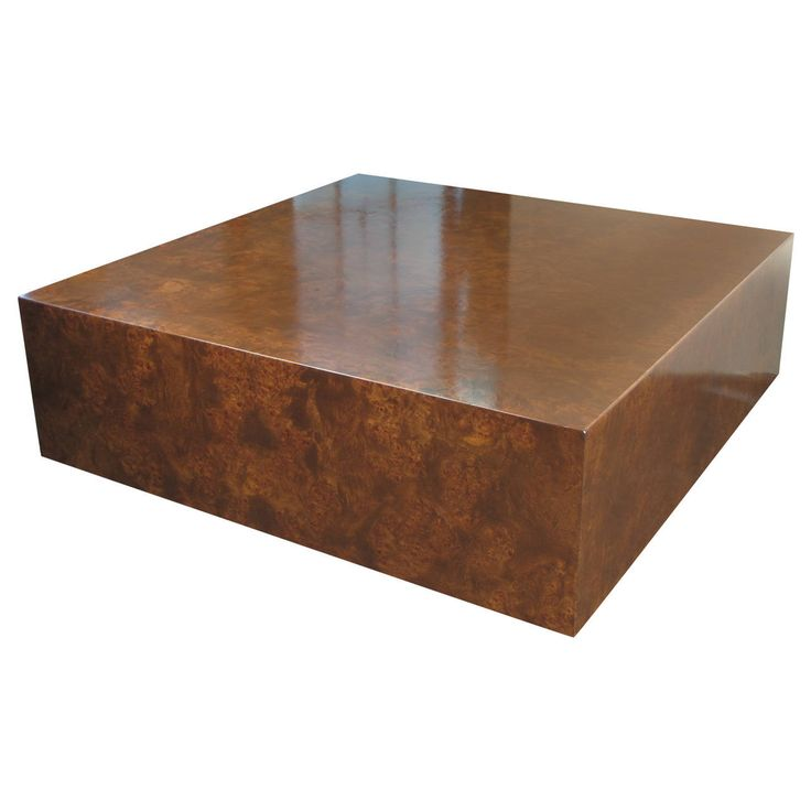 Burled wood cube coffee table by milo baughman for thayer