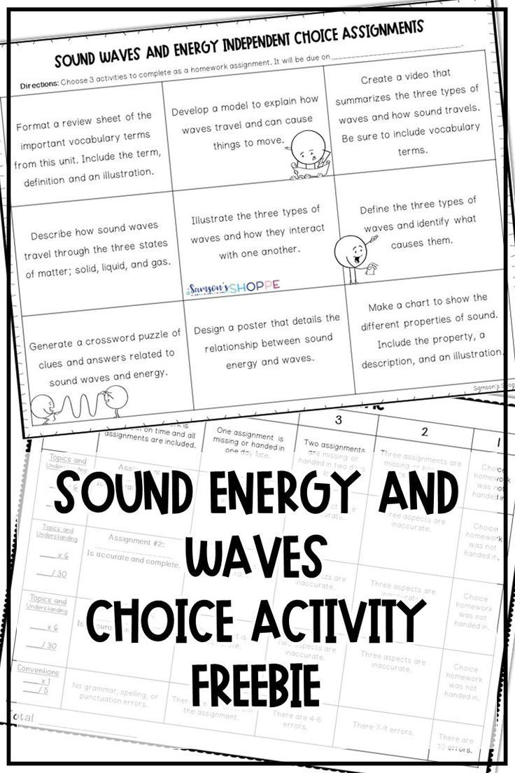 Sound Waves And Energy Choice Assignments For Distance Learning Lessons In 2020 Sound Energy Teaching Sound Sound Waves