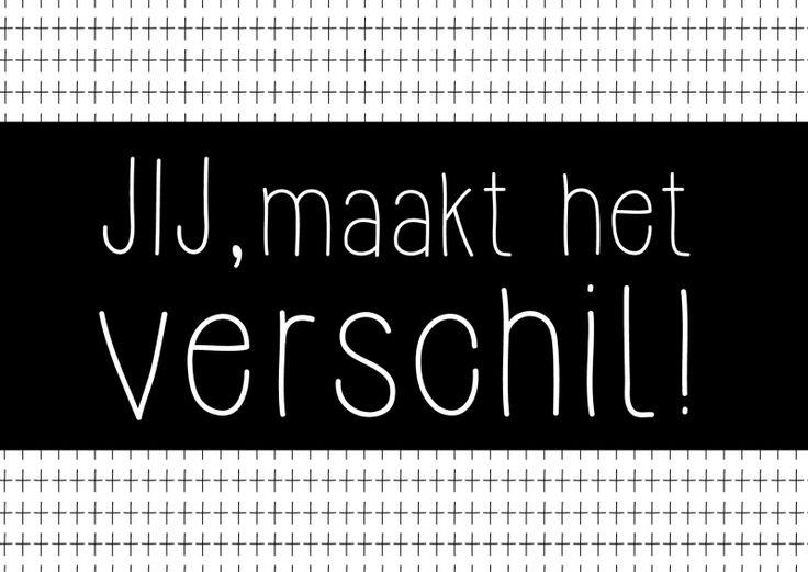 Kaartje Jij, maakt het verschil! Je shopt 'm hier: http://www.bybean.nl/kaartjejijmaakthetverschil