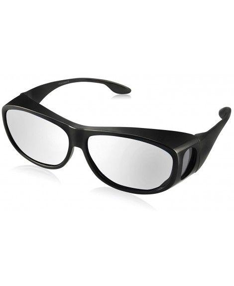 c56a82f13c9da Polarized Solar Shield Fitover Sunglasses - Wear Over Prescription Glasses.Mirrored  lenses - Oval-black