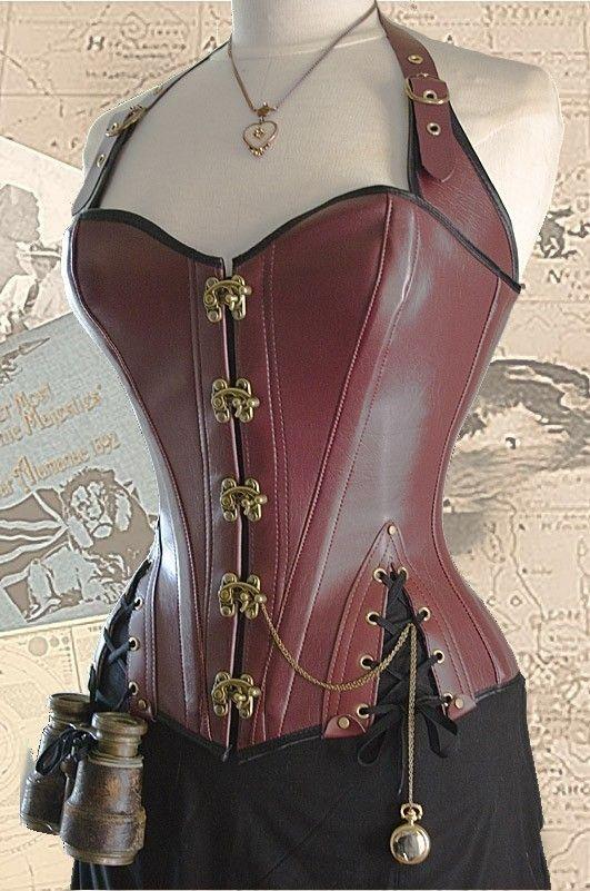 """(ideas for Steampunk costume) 32"""" waist Brass Steampunk Adventurer's Corset oxblood (WVBSC34)."""