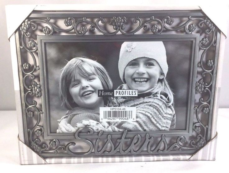 PICTURE FRAME HOME INTERIOR  SISTERS GRAY METAL GLASS VELVET BACK FREESTANDING #HomeProfiles #Sisters#Picture Frame Sisters#Gray Metal $9.99#4x6 Velvet Back