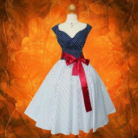1950s sundress patterns free | Blue & White Polka Dot 50s PIN UP ROCKABILLY SWING DRESS Full Swing ...