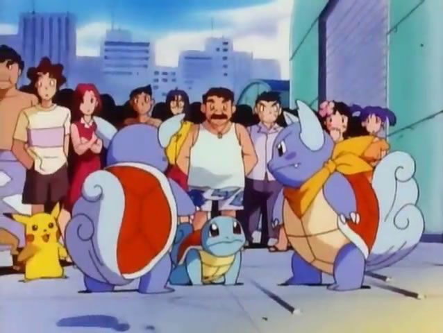 "#Squirtle meets members of the #Wartortle squad of firefighters in #Pokemon Season 2 Episode 26 ""The Pokemon Water War"". More info on Pokemon Season 2 at http://www.pokemondungeon.com/animated-series/pokemon-s02-adventures-in-the-orange-islands"