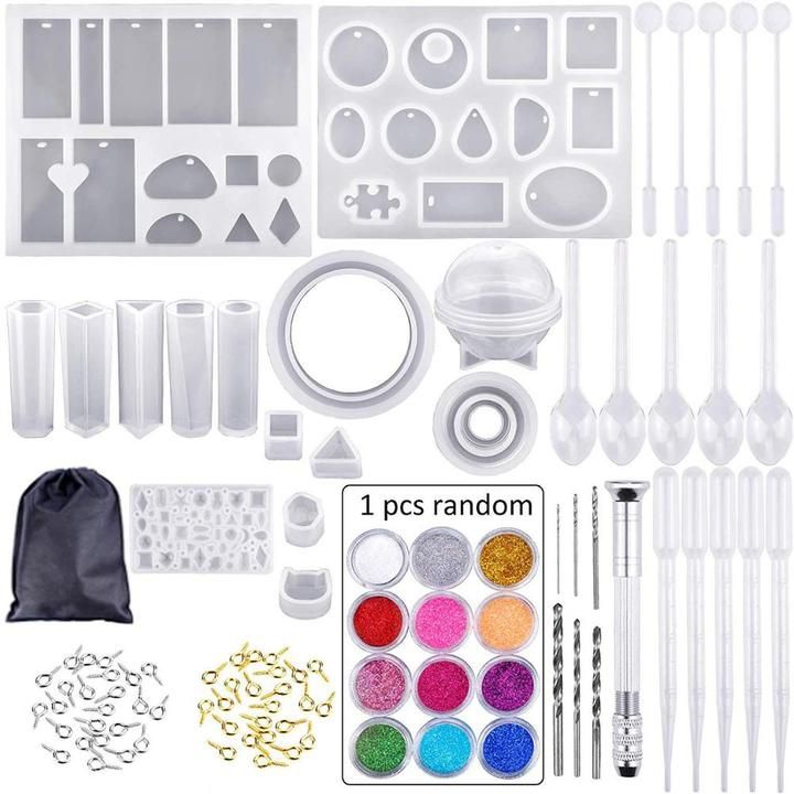 DIY Crystal Glue Jewelry Mold for Crafts Jewelry Casting 94 Pieces Handmade Crystal Glue Mould and Tools Set Easily Complete Beautiful Handmade and Design in Various Styles A