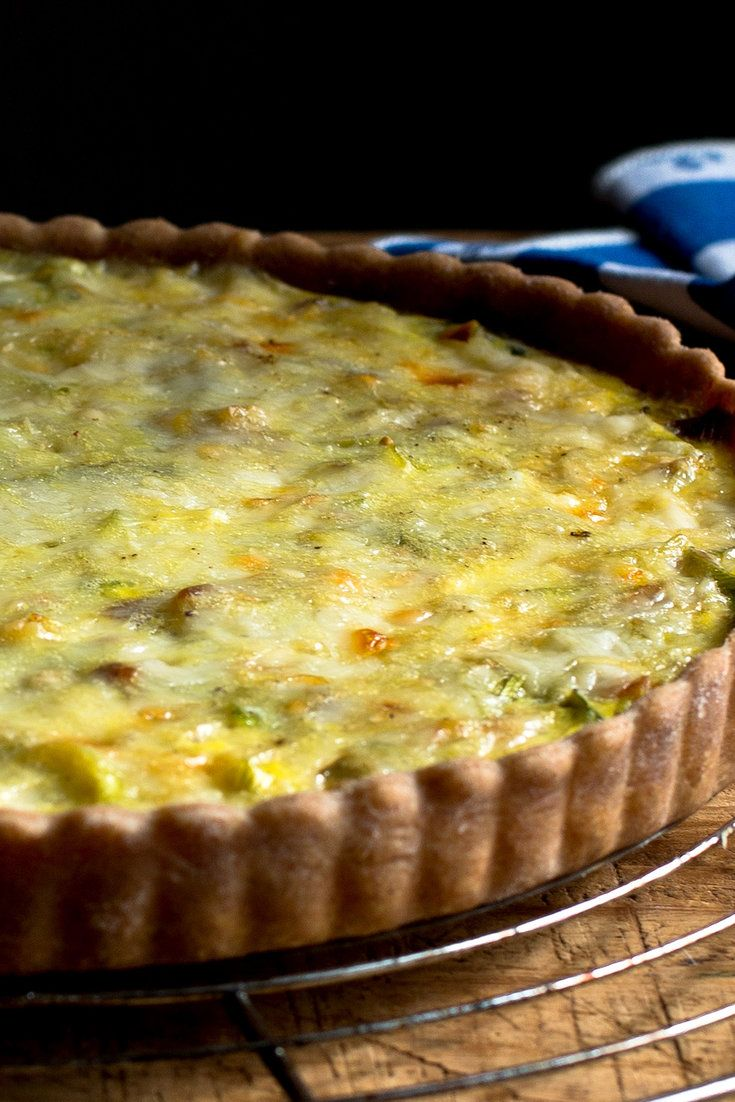 NYT Cooking: I had a beautiful bunch of leeks from the farmers' market and a Mediterranean crust left over in my freezer from my week of savory pies, so I decided to make this lightened version of a French classic called flamiche. The French version calls for lots of butter and cream or crème fraiche.