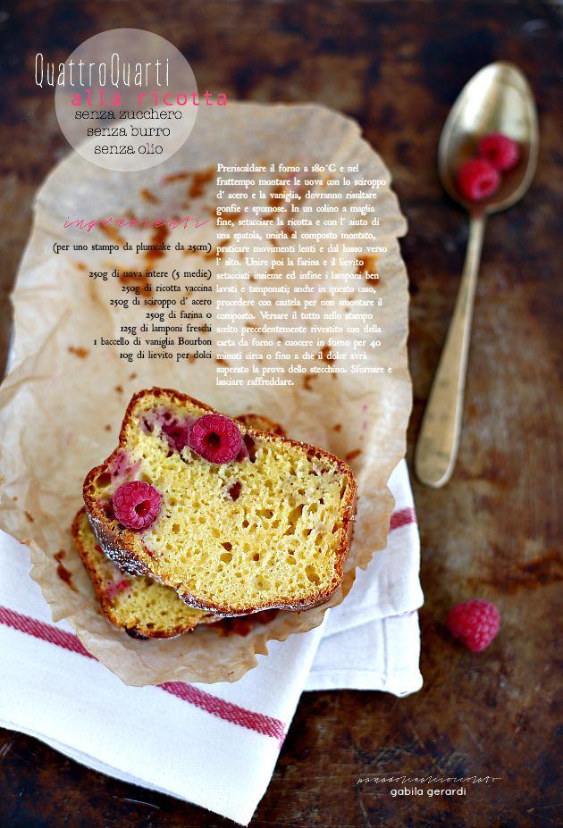 PANEDOLCEALCIOCCOLATO: Cake Quattro Quarti alla ricotta senza zucchero