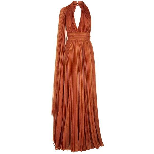 Elie Saab Cross Halter Dress ($5,115) ❤ liked on Polyvore featuring dresses, halter top, halter neck maxi dress, open back dresses, brown maxi dress and open back halter top