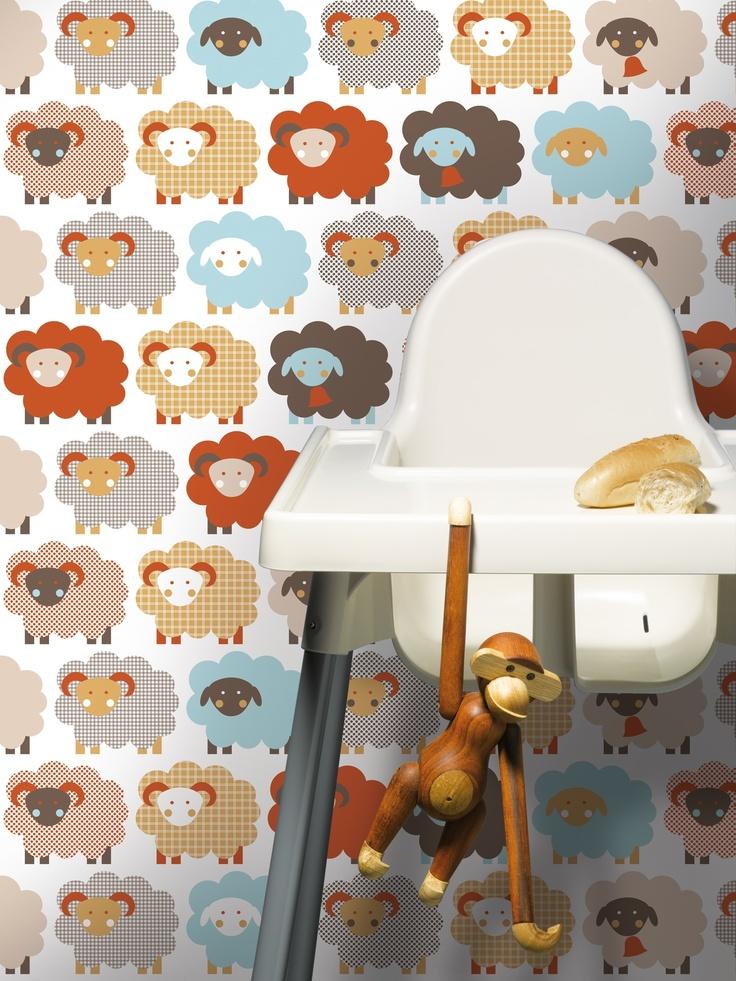 Schapen behang #kinderkamer | Sheep kids wallpaper #kidsroom