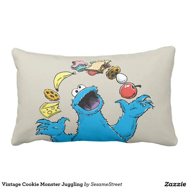 Vintage Cookie Monster Juggling. Regalos, Gifts. #cojín #pillow