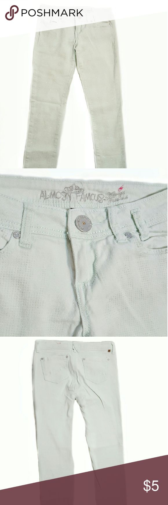 Light Mint Jeans with SPARKLE USED Good Condition  Size: 5  Flaws: Signs of wear -  Mild pilling on inner thigh area. Almost Famous Pants Skinny