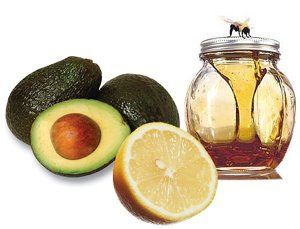1 Avocado 1 tbs Honey 1 tbs Lemon juice 1 tbs Yogurt Combine avocado, honey, lemon juice and yogurt in a blender. Let the mixture stand in the fridge for about 30 minutes. Apply mask on your face and neck and let set for about 10-15 minutes. Rinse off with warm water or just wipe off with a damp wash cloth.